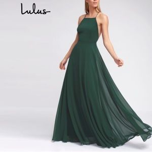 NWT Lulu's Mythical Kind Of Love Dark Green Dress✨